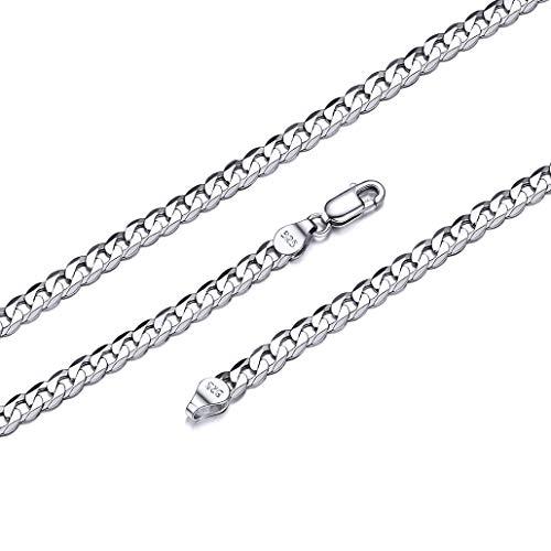 Silvora Cadena de Plata 5mm Ancho Gargantilla Hombre Collar de Cuello 36cm Largo Cadena Corta
