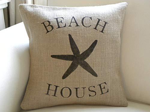 Ethelt5IV Housse de coussin en toile de jute Motif maison de plage étoile de mer