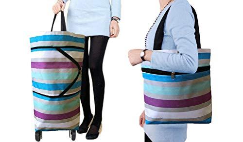 Cocobuy Faltbare Einkaufstasche mit Rädern, faltbare Einkaufstasche mit Rollen, wiederverwendbare Einkaufstaschen, Einkaufstasche, Einkaufstrolley, Tasche auf Rädern (bunte Streifen)