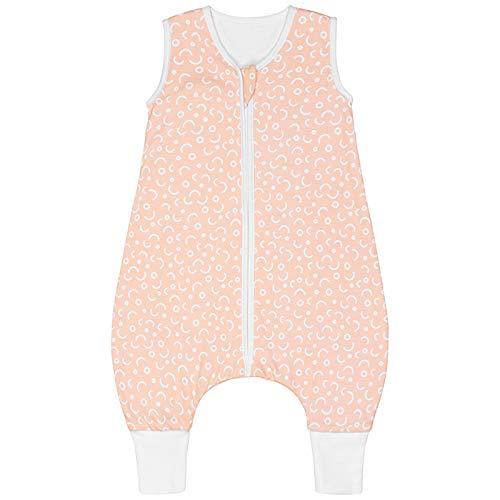 Premium Baby Schlafsack mit Füßen Sommer, Bequem & Atmungsaktiv, 100% Bio-Baumwolle, OEKO-TEX Zertifiziert, Flauschig, Bewegungsfreiheit, 1.0 TOG von emma & noah (Punkte Peach, 90 cm)