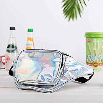 NYKKOLA Cute Holographic Fanny Pack - 80s Retro Vintage Style Waist Bag - Shiny Silver Metallic Iridescent Unisex.