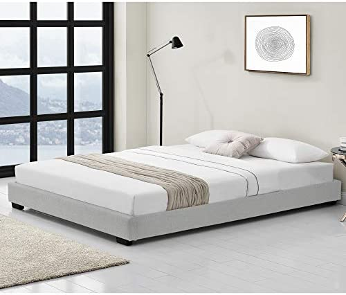 Corium Cama Doble Matrimonio Tapizado en Piel sintética 180 x 200 cm Somier Moderno con Listones para Cama Blanco