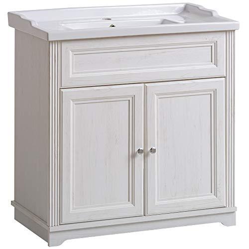 Lomadox Badmöbel Einzel Waschtisch-Unterschrank 60cm mit Keramik-Waschbecken, Vintage Landhausstil, Pinie weiß