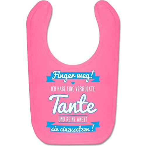 Shirtracer Sprüche Baby - Ich habe eine verrückte Tante Blau - Unisize - Pink - babygeschenke zur geburt junge - BZ12 - Baby Lätzchen Baumwolle