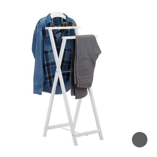 Relaxdays dressboy voor heren, inklapbaar, klerenbutler voor jacket en broeken, m. legplank, voor dames, mudf, hout, wit, standaard