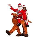 hengGuKeJiYo Navidad Sr. Papá Noel Paseo en Reno Mascota Disfraz Pareja Navidad Cosplay Disfraces Doble Persona Elk Animal Divertido Vestido
