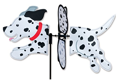 Premier Kites Petite Wind Spinner for Patio, Lawn, Garden | 100% Rain & UV Resistant Polyester - Aerodynamic, Sturdy Long Lasting Dog Wind Spinner (Dalmation)