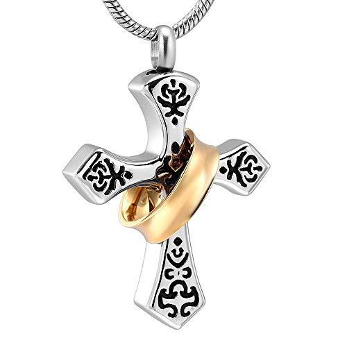 KXBY Ashes Urn Crematie as hanger unieke kruis crematie sieraden voor as gouden cirkel Keepsake Urn ketting voor menselijke huisdier as Memorial hanger
