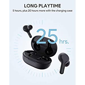AUKEY True Wireless Earbuds, Bluetooth 5 Headphones, USB-C Quick Charge, IPX5 Waterproof, 25H Playtime, One-Step Pairing, Hi-Fi Stereo Earphones for iPhone and Android