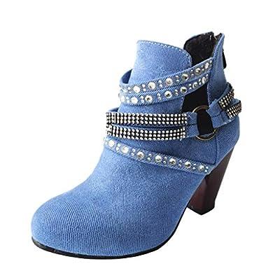 Women Studded Ankle Boots Belt Buckle Rivet Rhinestone BootiesFashion Cross Strap Keep Warm Winter Pull-on Shoes Blue