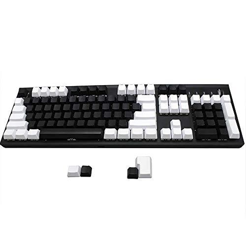 Keycaps für Keyboards 104 Blank ANSI ISO Weiß Schwarz PBT Profil Keycap for 104 TKL 60% MX Mechanische Gaming Tastatur-Schalter Universal ( Axis Body : ANSI Add 4 ISO keys , Color : White Modifiers )