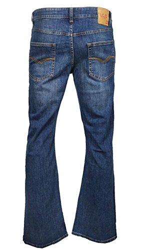 LCJ Denim Herren Flare Stretch Indie Jeans 70er Jahre Acid Bell Pants LC16 Gr. 28 W/30 L, blau