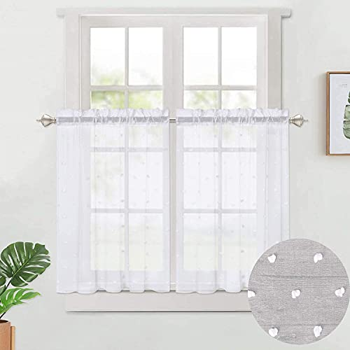"CAROMIO White Sheer Kitchen Tiers Curtains Pompoms Short Window Curtains White Bubble Jacquard Cafe Curtain for Windows, White Pompoms, Set of 2, 27"" x 36"""