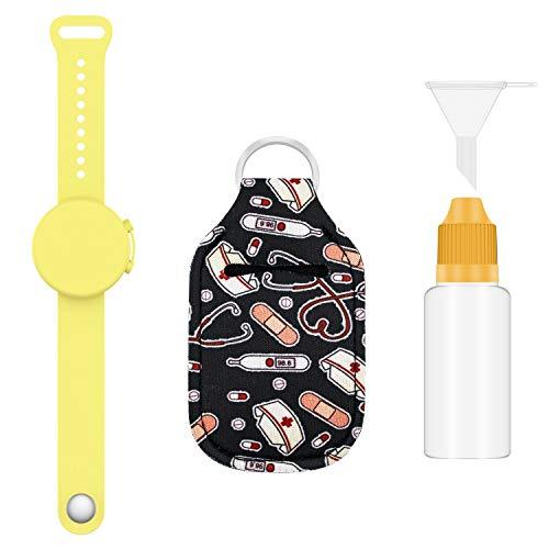 ZUXNZUX Braccialetto Disinfettante, Bracciale dispenser in silicone liquido riempibile, Braccialetto per dispenser a mano, portatile per Adulti e Bambini (Giallo)
