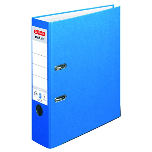 Herlitz Ordner maX.file nature plus, Spezialpapierbezug, Kantenschutz, standfest, A4 8 cm, blau