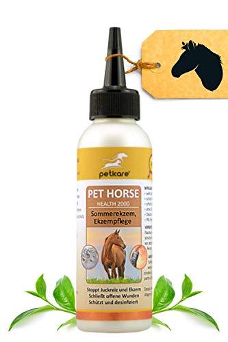 Peticare Spezial Pflege-Öl für Pferde bei Sommer-Ekzem, Dermatitis - Ekzemer-Mittel bei Kriebelmücken-Biss für die Haut beim Pferd, gegen Juckreiz, Keine Ekzemerdecke mehr - petHorse Health 2000