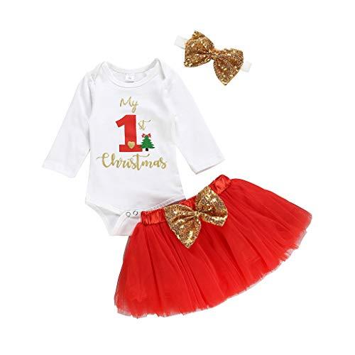 Tutu Falda a Cuadros Diadema de Flor BBSMLIN Conjunto Bebe Navidad Disfraz Ni/ña 0-24 Meses My First Christmas Peleles