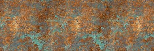 Queence | Küchen Spritzschutz \'Rostig\' | Küchenrückwand | HiTech-Vinyl | Fliesenschutz für den Herd | Küche | Küchenfliesen | Fliesenspiegel | Rückwand, Größe:120x40 cm
