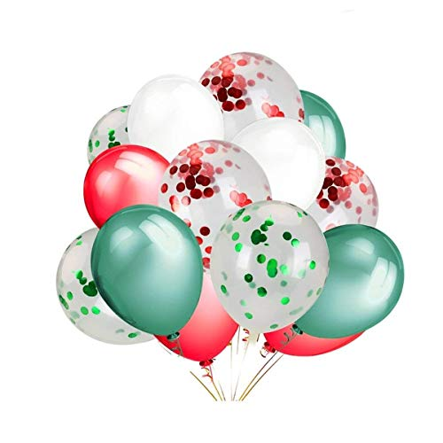 LeeSky 12 Pack 12 Inch Red & Green Confetti Balloons,30 Pack Red & Green & White Color Party Balloons -Christmas Party New Year Party Decoration Supplies