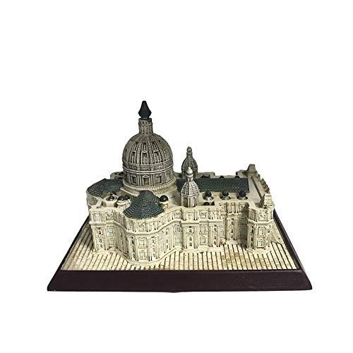WWZYX De Estatua DecoracióN Escultura Adornos Regalo Modelo arquitectónico Antiguo Artesanías de Resina de Viaje Decoración Creativa de la basílica de San Pedro en Italia