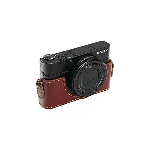 SONY ソニー RX100 II / III / �W/ �X用本革カメラケース ブラウン RX100M2 RX100M3 RX100M4 RX100M5 (カメラケース&ストラップLK09&バッテリーケース, ブラウン)