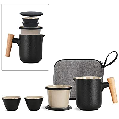 Travel Tea Set with Case, 1 Pot 2 Mini Cups Ceramic Cup 300ML with Heat-Resistant Wooden Handle, Portable Kungfu Tea Cup with Infuser for Office Outdoor Camping, Tea Set for Adult, Tea Lover