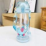 Bottiglia di Acqua anticaduta per Bambini in plastica Coreana per Bambini con Cinturino Sippy per Bambini con Cinturino Portatile in plastica,Blu corallo/550 ml