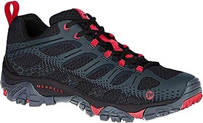 Merrell Men's Moab Edge Hiking Shoe, Black/Red 9.5 M US