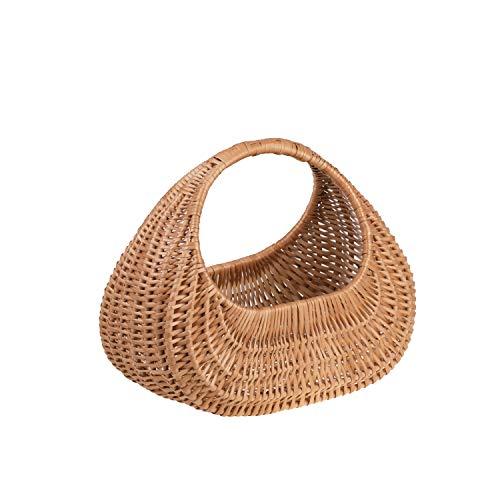 e-wicker24 Geschenkkorb, Tasche aus Weide in Naturfarbe, Einkaufskorb