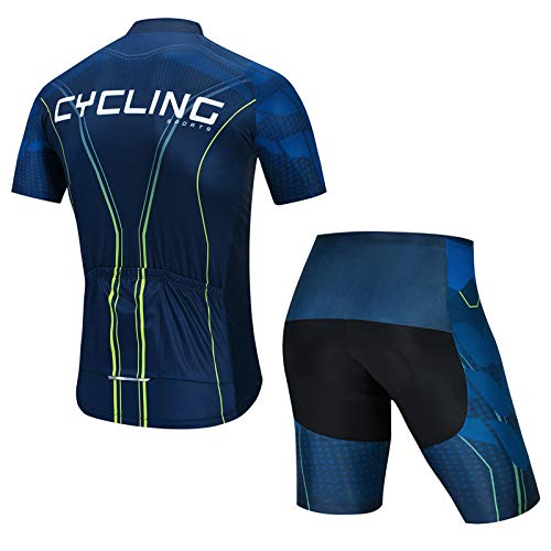 QWA MTB Jersey Conjunto, Maillot Manga Corta de Bicicleta, con 20D Almohadilla de Gel para Deportes Aire Libre Ciclo Bicicleta (Color : Blue 2, Size : A(XS))