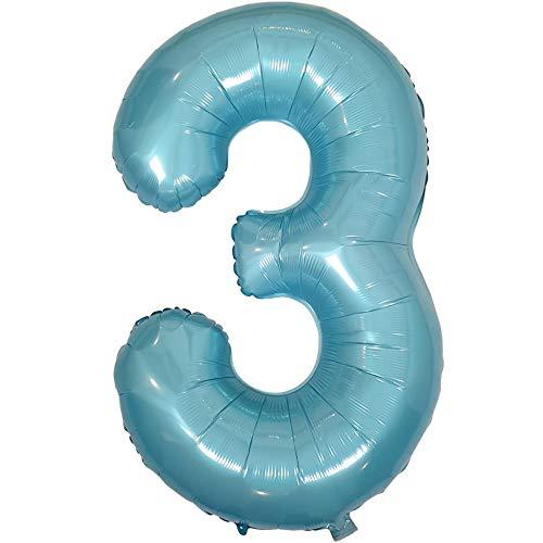 DIWULI, gigantische XXL Zahlen-Ballons, Zahl 3, Pearl Blue Luftballons, Zahlenluftballons Pastell blau, Folien-Luftballons Nummer Nr Jahre, Folien-Ballons für 3. Geburtstag, Party-Deko, Dekoration