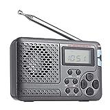 KDLK Radio portátil Am/FM/SW Radio de Bolsillo con Pantalla LCD Receptor de Radio DSP estéreo Digital multibanda