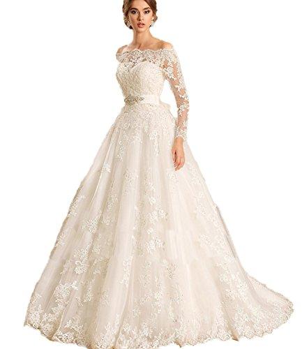 Madedress Bootshals Spitze Lange Ärmel Hochzeitskleid Applikationen Übergröße Brautkleid Abendkleid Hochzeitskleider (52, Weiß)