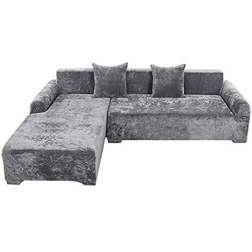 TIYKI L Forma Cubiertas De Couch para Seccional,Super Stretch Cubiertas Antideslizantes De Sofá,Poliester Protector De Muebles,Protectores De Sofá Mascotas-Gris. 190-230cm(1pic)