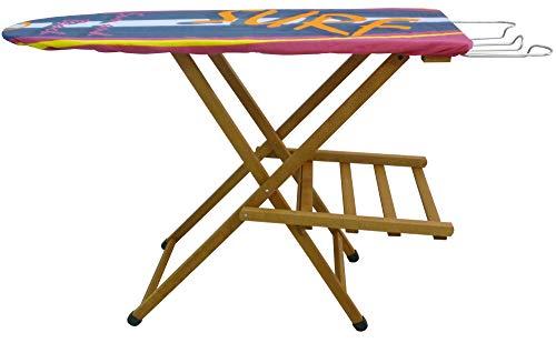 Tabla de planchar en madera de haya maciza suave, color marrón, modelo excelente