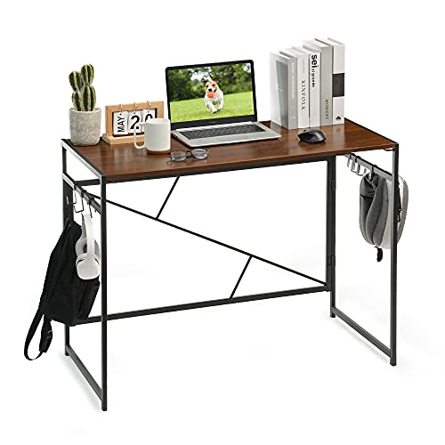 Robotime Home Office Computer Desk Laptop PC Folding Table for Writing, Study, Gaming and Workstation, Easy Assembly Wooden Standing Desk with Steel Legs 100x50x75cm