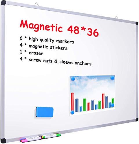 Whiteboard mit Alurahmen, Ohuhu 120 x 90cm Magnetisches Whiteboard mit 6 Trockenlöschmarkierungen, 4 x magnetischen Aufklebern, 1 Radiergummi, 4 Schraubenmuttern und Hülsenankern, Silber
