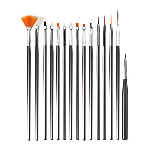 Ealicere 15 Pieces Nail Art Set Black Nail Art Pen UV Gel Acrylic Nail Art Brush, Nail Dotting Tool for Nail Art Tool Set design and DIY