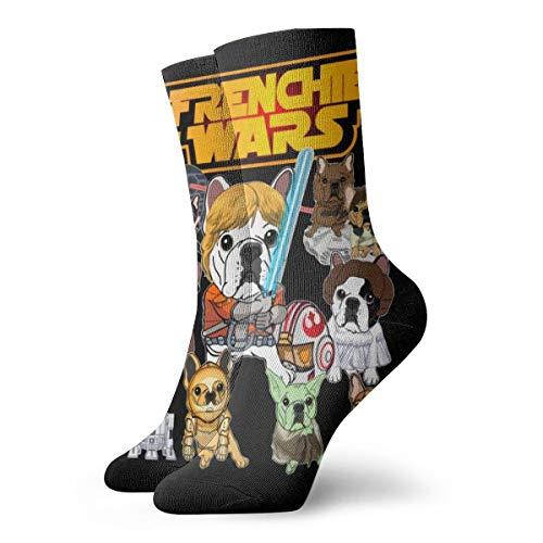 Jhonangel Divertidos calcetines de bulldog francés Hombres Mujeres Calcetines atléticos Calcetines transpirables con lengüeta 30 cm / 11.8 pulgadas