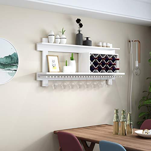 ZYFJJ Weinregale Haushalts-Kiefer-Rauten-Weinregal, zusammengebauter, mehrfarbiger, optionaler umgekehrter Getränkehalter (Farbe : Weiß)