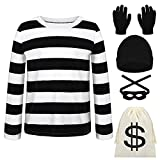 URATOT Kid's Robber Costume Set Black and White Striped Tee Shirt Canvas Bag Gloves Eye Patch and Beanie Cap