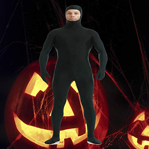Amosfun 1pcs Full Body Tight Suit Open Face Dress Up Festival Kostüme Zentai Suit for Party Cosplay Stage Performance Halloween XL Black