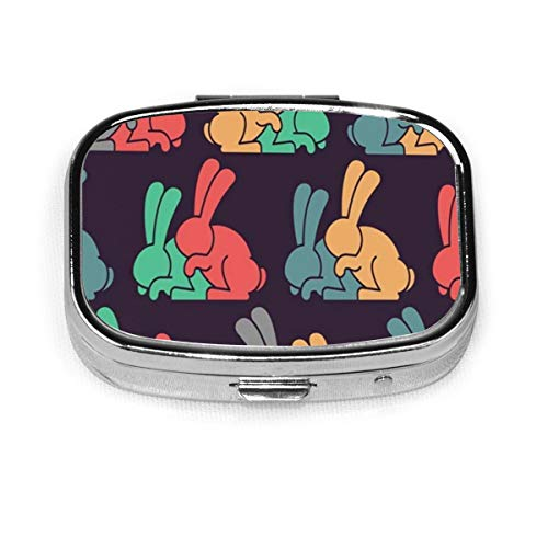 Pill Box - Customized Bunny Sex Rabbit Intercourse Ornqment Animals Wildlife Pill Boxes, Portable Rectangular Metal Silver Pills Case, Compact 2 Space, Pill Cases for Travel/Pocket/Purse