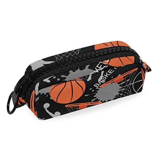 Portapenne da basket, con grande cerniera, in tela, per ragazzi, ragazze, studenti, cancelleria