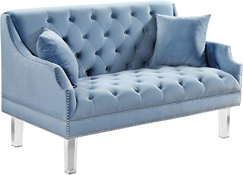 Meridian Furniture Roxy Collection Modern | Contemporary Velvet Upholstered Loveseat Sofa with Luxurious Deep Tufting, Nailhead Trim and Acrylic Legs, Sky blue