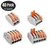 Conectores de Cable compactos, Bloque de terminales PCT-212/213/214/215 en Surtido Paquete de 10 Piezas Cada uno, Conector de Cable de Empuje de Cable de Tuerca de Palanca, 40 Piezas