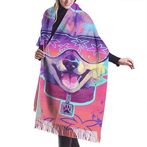 Tengyuntong Bufanda de mantón Mujer Chales para, Sparkle Dog Hawaii Gafas de sol Bufanda de cachemira para mujeres Hombres Ligero Unisex Moda Suave bufandas de invierno Flecos Chal Wraps