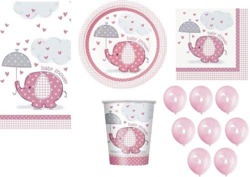 Babyparty Party Zubehör Umbrellaphants Design Elefanten Rosa für Mädchen Servietten, Teller, Becher, Tischdecke, Ballons, 57 Artikel