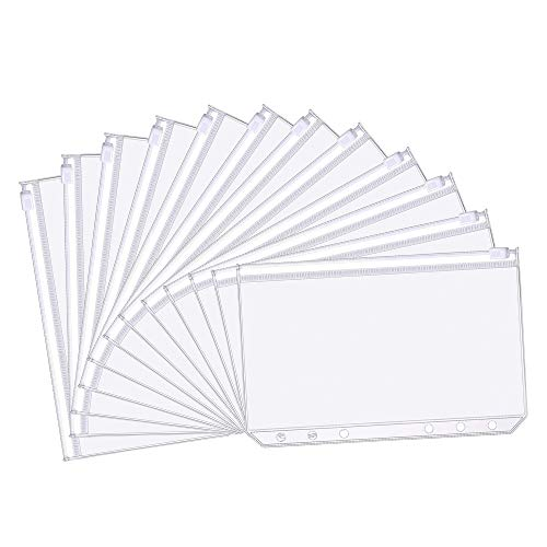 YUMQUA 12pcs Binder Pockets A6 Size, 6 Holes Clear PVC Zipper Binder Pouches Document Filing Bags for 6-Ring Notebook Binder Loose Leaf