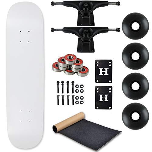 Moose Complete Skateboard Dip White 7.0' with Black Trucks and Black Wheels